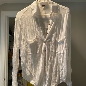 Free people white beach button up
